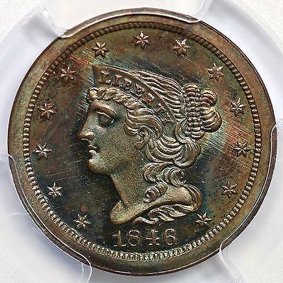 1846 2nd Restrike R-6 PCGS PR 66 BN Braided Hair Half Cent Coin 1/2c
