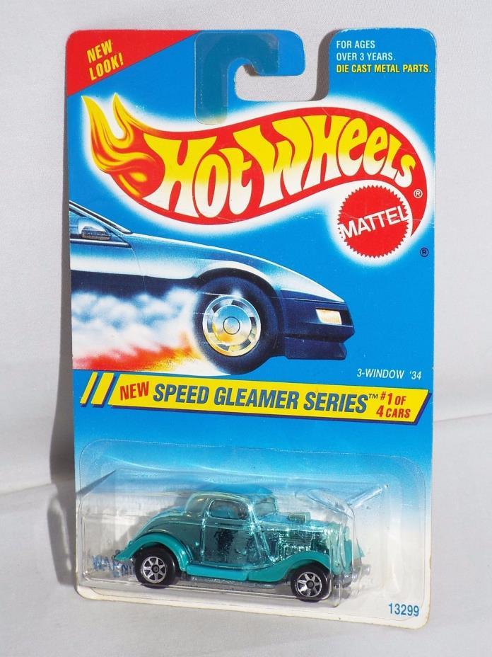 Hot Wheels 1995 Speed Gleamer Series #312 3-Window '34 Ford Chrome Green