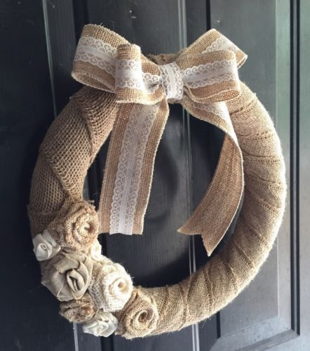 Rustic Burlap Wrapped Wreath