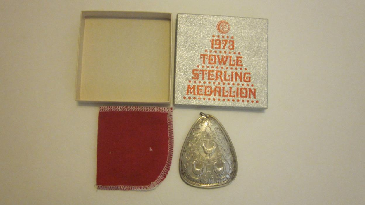 1973 Towle Sterling Silver Christmas Medallion Ornament New in Box