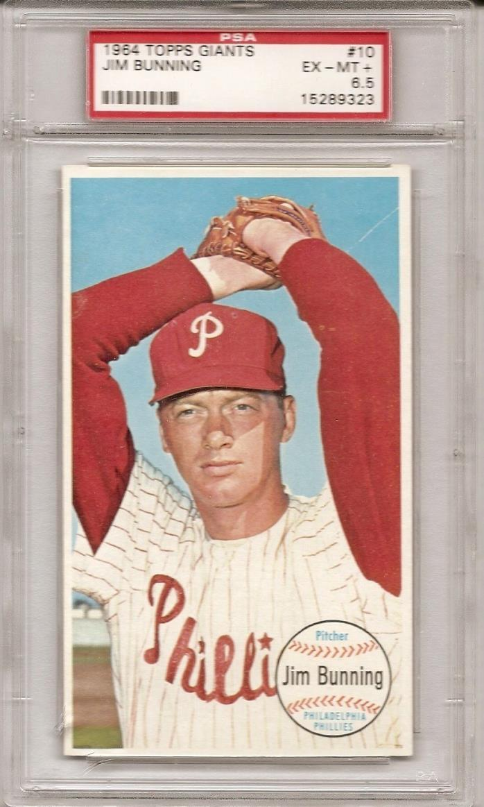 1964 Topps Giants Jim Bunning - Unsigned - PSA EX-MT+ 6.5 - Read about holder