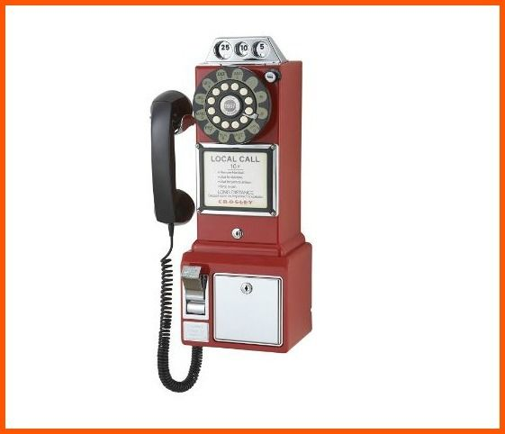 Replica Style Rotary Phone Antique Pay Telephone Red 1950 Vintage Look