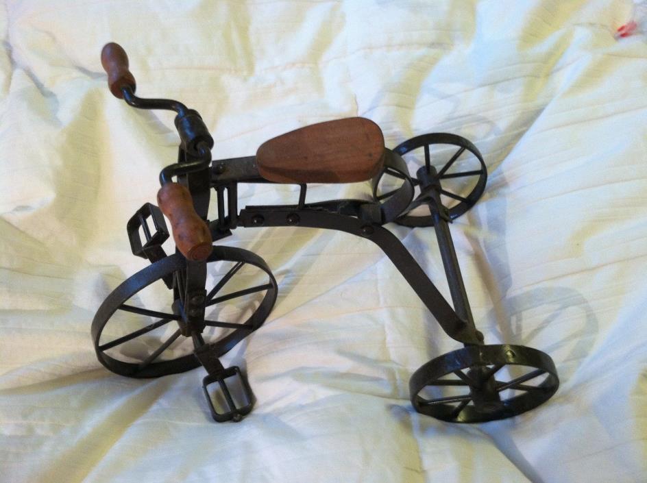 Vintage Look Primitive Display Tricycle Wood / Metal Decorative Only 9 1/4
