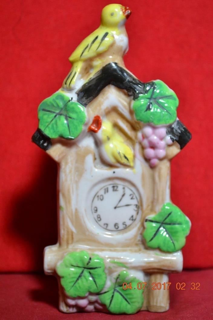 Vintage Japan Bird Clock Wall Pocket