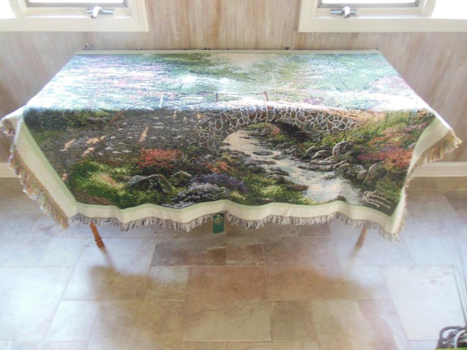 USA Made NWT Thomas Kinkade Bridge Of Faith Tapestry Throw Blanket Afghan