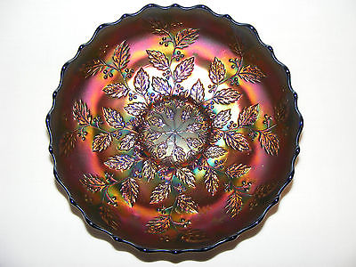 OLD FENTON CARNIVAL GLASS HOLLY BOWL IN BLUE EXCEPTIONAL IRIDESCENCE