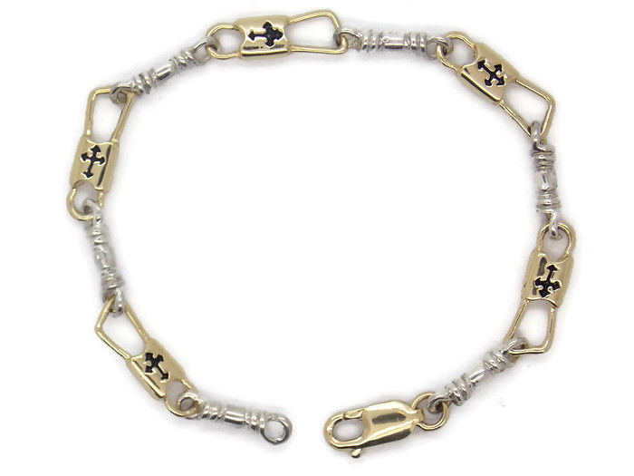 ACTS Bracelet Fishers Of Men 10k Gold and Silver REGULAR LINK, Budded Cross!!