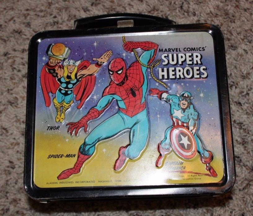 Vintage Aladdin Brand 1976 Marvel Super Heroes Metal Lunch Box