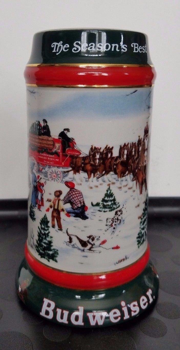 Beer Stein 1991 Budweiser The Season's Best Holiday Manufactured by Ceramarte