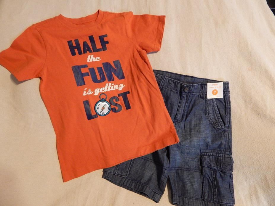 NWT 7 GYMBOREE DENIM & TEES TOP & SHORTS