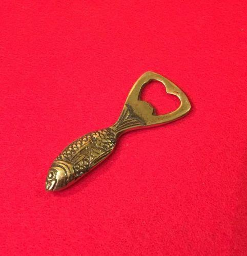 Vintage Brass Fish Bottle Opener Heart Shape