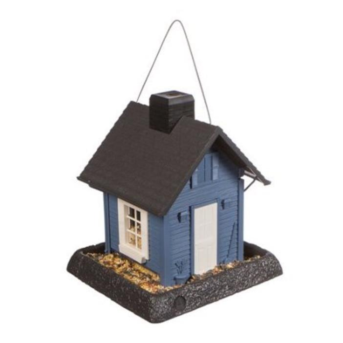 Bird Feeder Blue Cottage Clear Plastic Large Tray Easy Clean NorthState Ind 5 lb