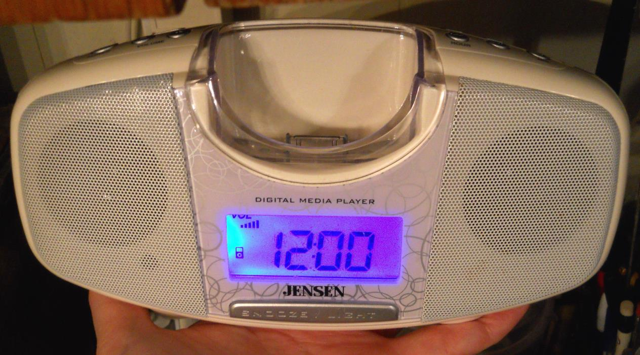 Jensen Alarm Clock iPod Dock with Speakers JIMS-120 Snooze Digital Media Player