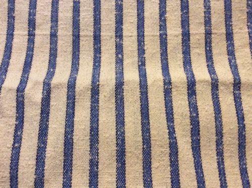 ALMOST 3 YARDS OF VINTAGE 1950'S ERA BLUE & KHAKI STRIPE NUBBY TEXTURED FABRIC