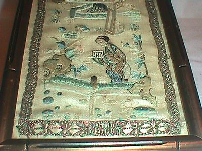 CHINA CHINESE ANTIQUE HAND EMBROIDERY EMBROIDED SILK Grasshoppers PANEL PICTURE