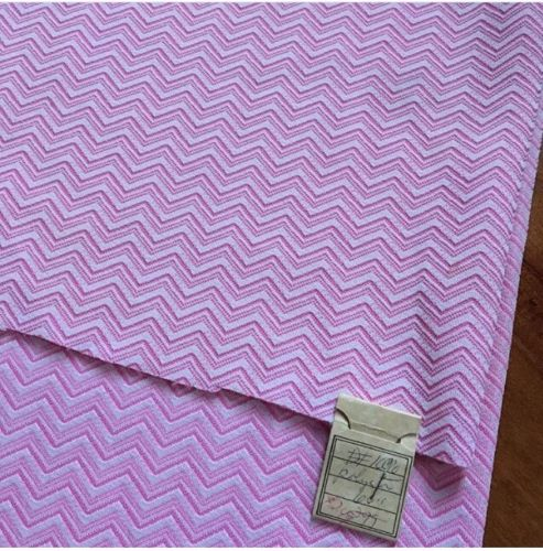 Vintage Pink Chevron Polyester Sewing Fabric 2.75 Yards Original Tag