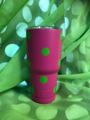 YETI Rambler 30 oz Stainless Steel - Hot Pink/Lime Green Vinyl Polka-Dots ??New