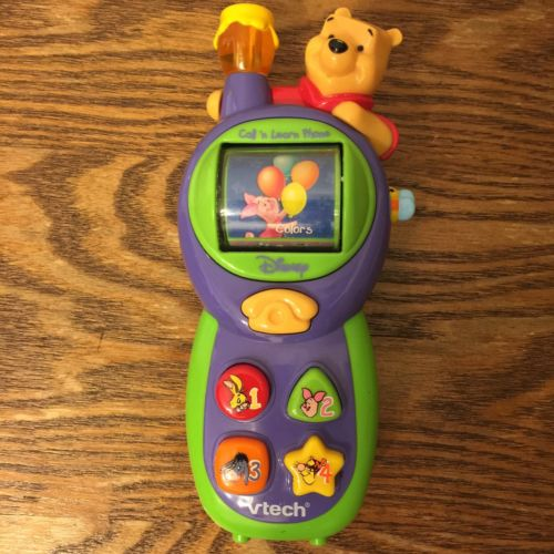 Vtech Disney Winnie the Pooh Call n Learn phone lights sounds talking cell phone