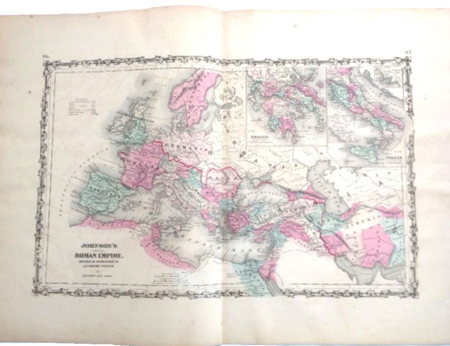 1862 Original Johnson's 2 pg Atlas Map of Roman Empire w/ Greece & Italy Insets