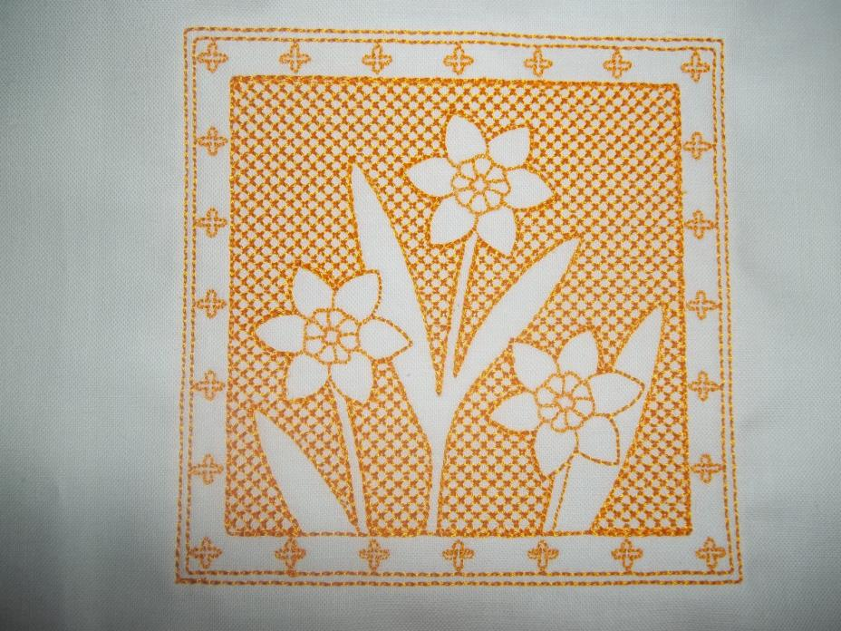 TRAPUNTO STYLE FLORAL EMBROIDERED QUILT BLOCKS - SET OF SIX SQUARES