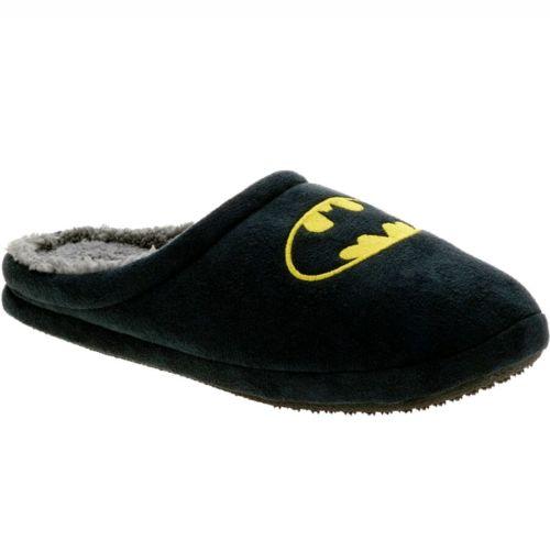 Batman DC Comics Men's Black Slip-on Logo Scuff Slippers: XL 13-14