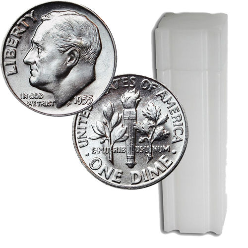 $5 Roll of Brilliant Uncirculated (BU) 90% Silver Roosevelt Dimes