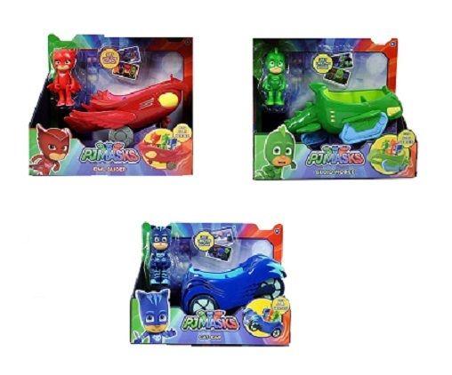 3 PJ MASKS CARS Blue Catboy Cat-Car, Red Owl Glider, Green Gekko Mobile IN HAND!