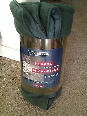 FLEECE THROW REVERSING 2 MICROFIBER 50 by 60 inch EXTRA SOFT HUNTER GREEN  mint!