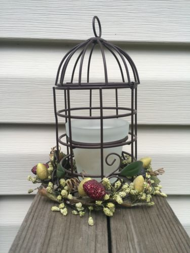 Metal Bird Cage Glass Votive Candle Holder