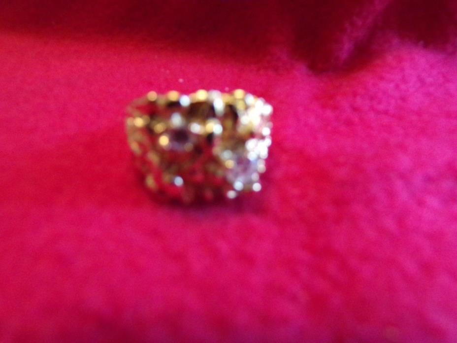 mens ring size 12 1/3 gold tone nugget 2 stones
