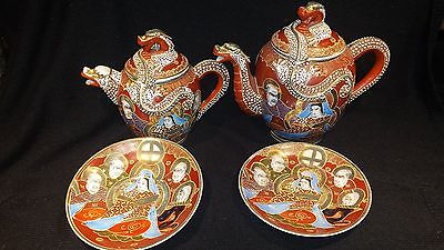 Kutani Geisha Girl Dragon Moriage Teapots and saucers