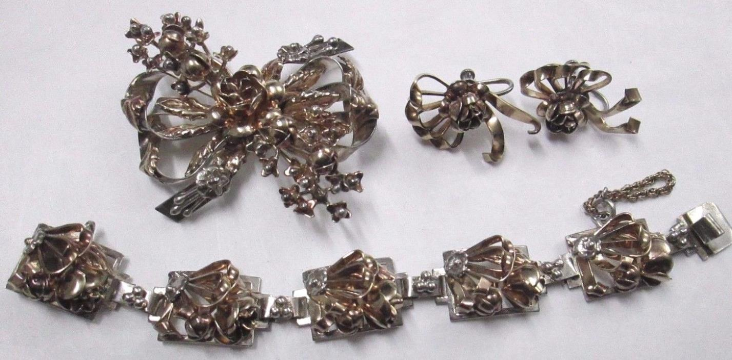 Vintage 3 pc 40's HOBE STERLING SILVER Intricate Rose Floral Ribbon Jewelry Set