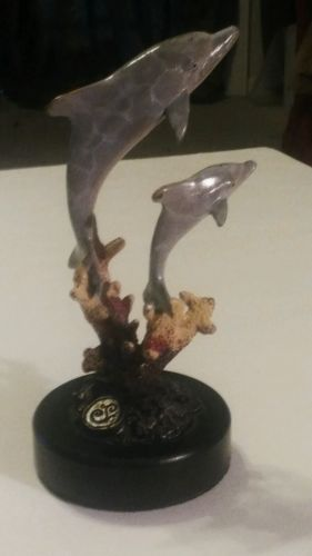 SPI Gallery  Dolphin  Brass  Sculpture  Figurine - Marble Base