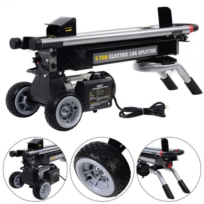 New 1500W 6 Ton Electric Hydraulic Log Splitter Wood Portable Cutter Powerful