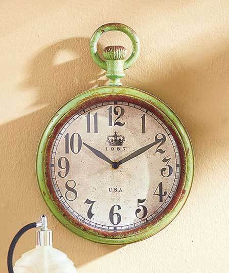 Vintage Metal Wall Clocks  LARGE GREEN Kitchen Wall Clock