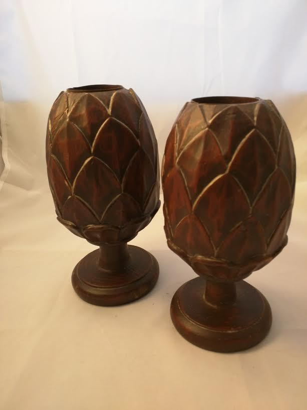Pair of Hand Carved Wood Artichoke Candle Holders 7.75