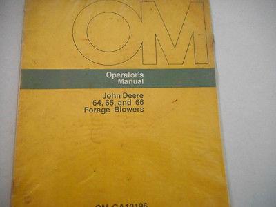 John Deere 64, 65 and 66 Forage Blowers Operators Manual