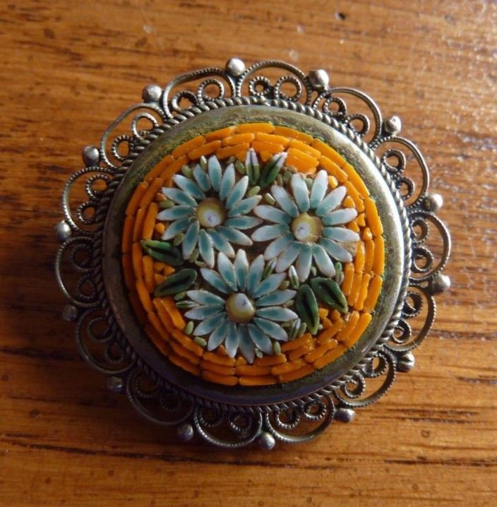 Vintage Filigree MOSAIC PIN Flowers Orange ITALY