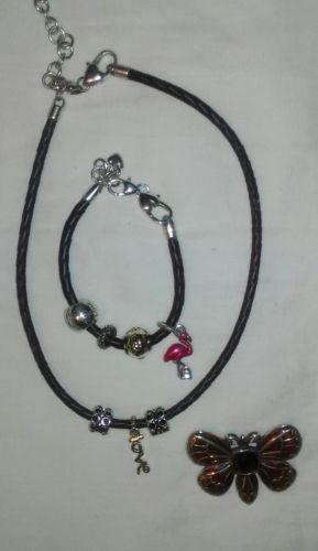 Pandora necklace bracelate charms pin lot
