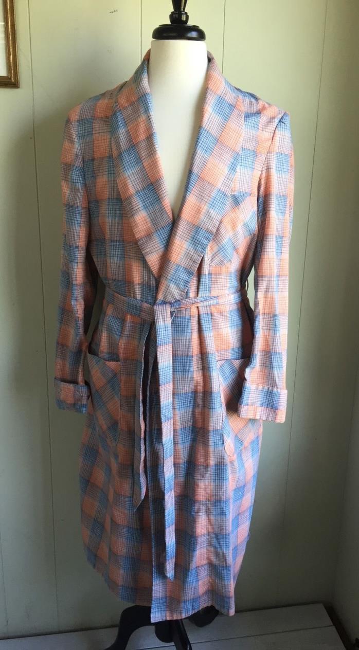 Mens Vtg Plaid Lightweight Robe Smoking Jacket Blue Orange Plaid Cotton Blend LG
