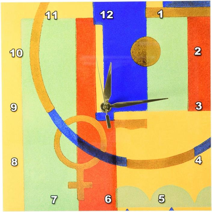 TNMGraphics Colorful Art Deco Wall Clock, 10 by 10-Inch