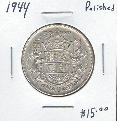 Canada 1944 Silver 50 Cents Polished