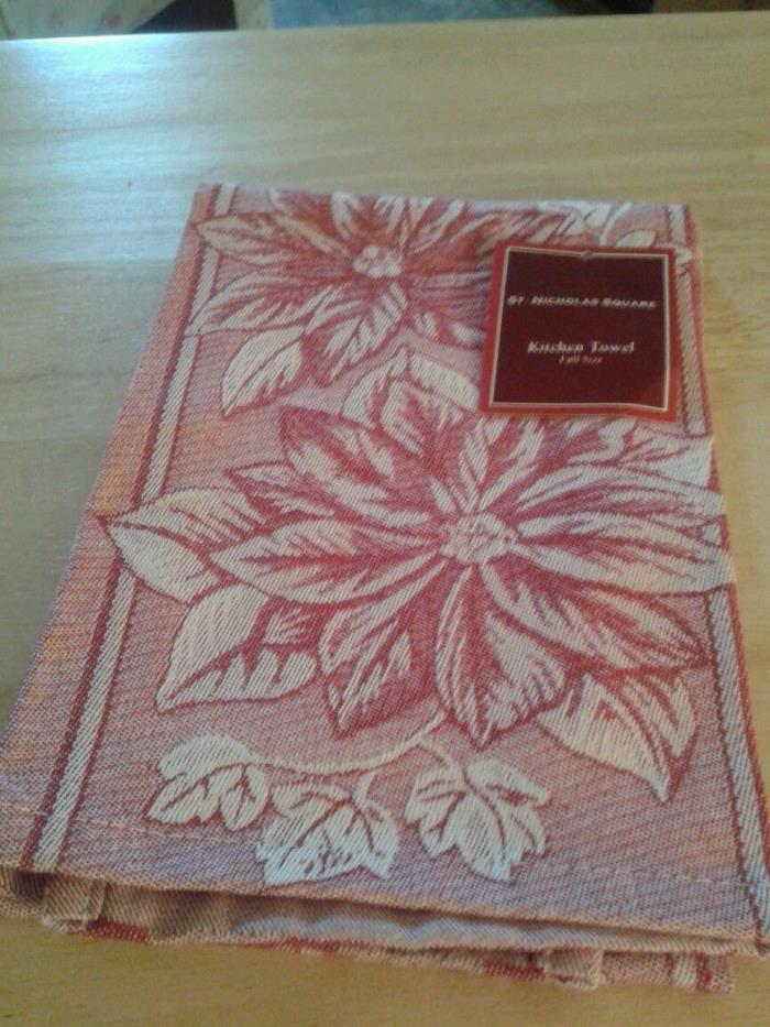 Christmas Poinsettia Dish Towel, New, 100% Cotton