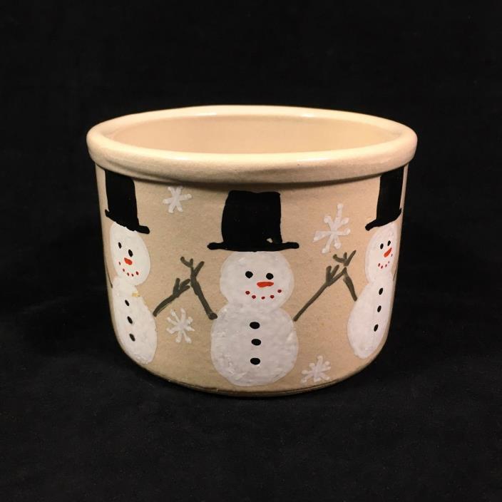 Robinson Ransbottom RRP Snowman Crock 1994, Christmas Holiday Decor
