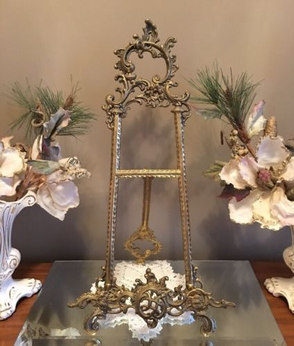 Vintage Ornate Brass Easel Picture Holder Art Display Stand 20
