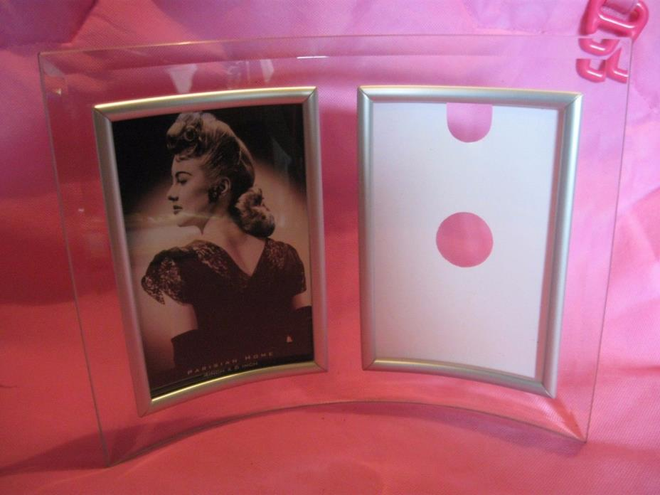 Heavy All Glass Curved Side by Side Picture Frame 4 x 6 Contempory Photo Frame