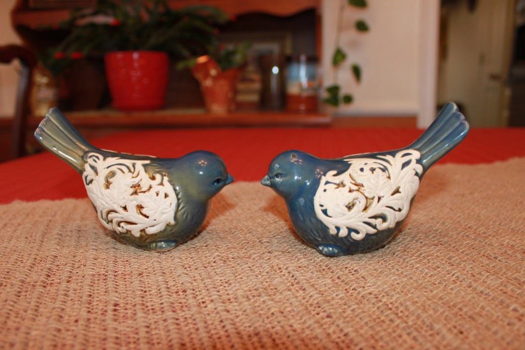 Ceramic Blue Birds Household Home Decorative Figurines Set of 2