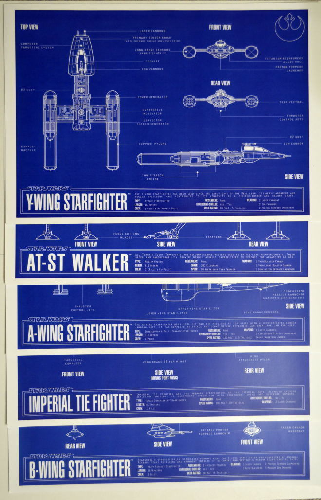 Set (9) BLUEPRINTS Star Wars  Zanart Entertainmnt  A-WING B-WING X-WING FALCON