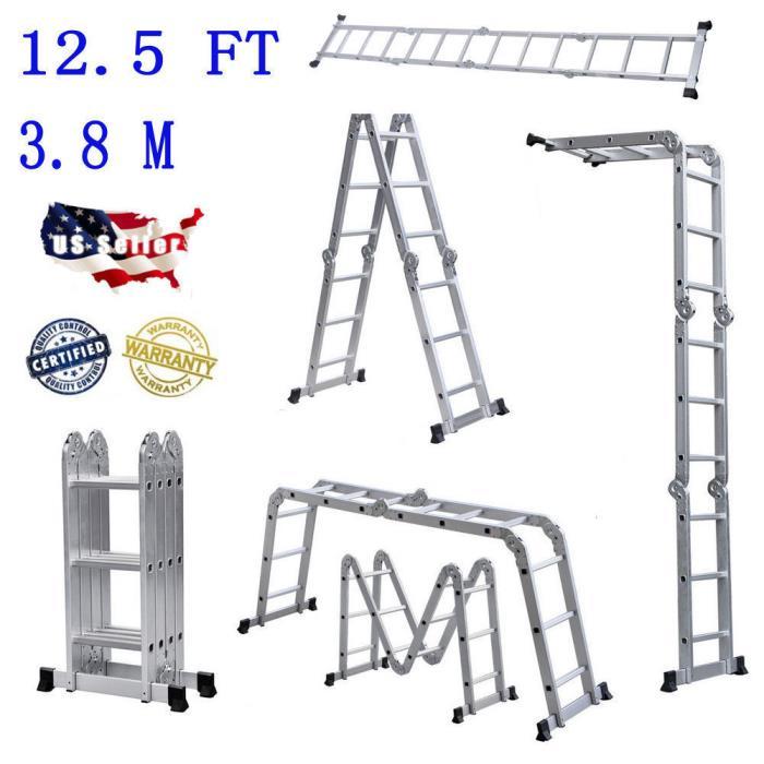 12.5FT Step Multi Purpose Aluminum Folding Step Platform Scaffold Ladder New