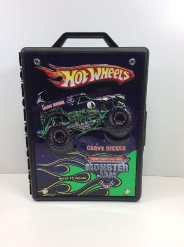 Hot Wheels Monster Jam Truck Case Storage Box Kids Children Play Grave Digger